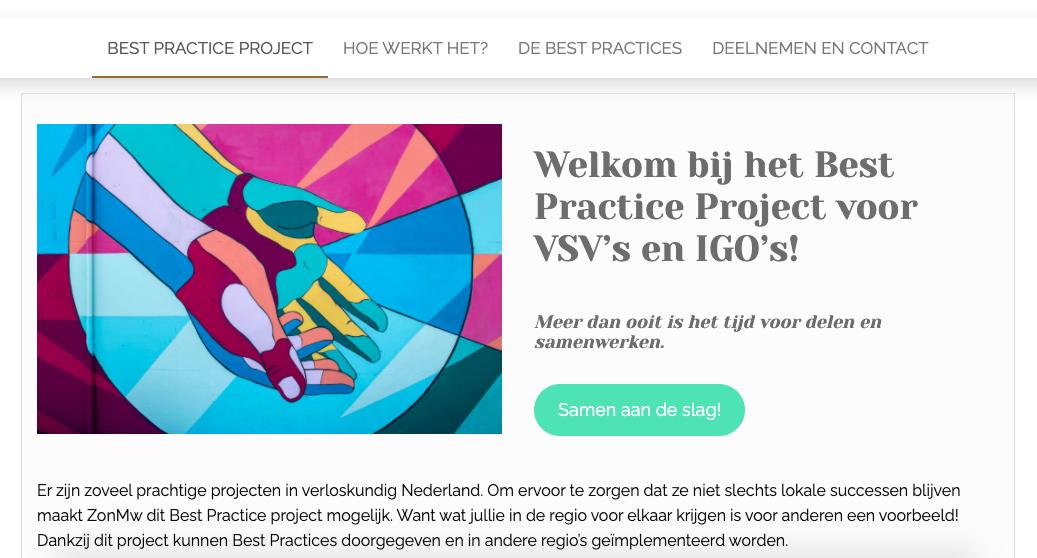 Website voor het Best Practice Project gemaakt door Virtual Assistant Vera Wong